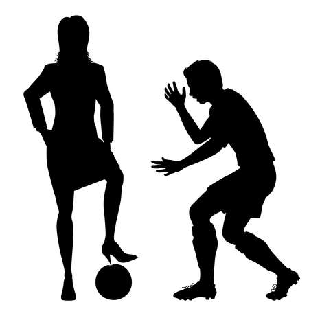 Editable vector silhouette of a woman about to puncture a man's football with her stiletto heel  Иллюстрация