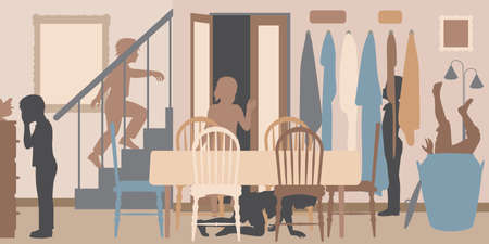 Editable vector cutout illustration of children playing hide and seek