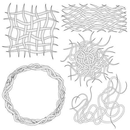 Set of editable vector woven worm design elements