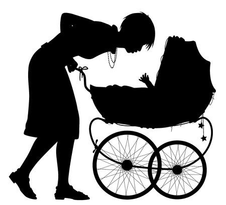 Editierbare Vektorsilhouette einer jungen Mutter, die mit ihrem Baby in einem Kinderwagen mit Mutter als separates Element interagiert Vektorgrafik