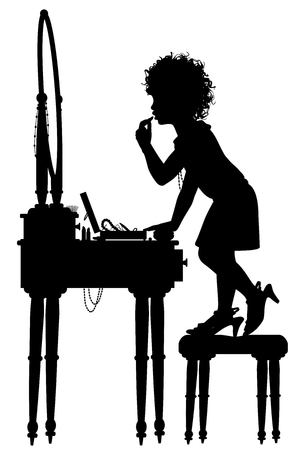 Editable vector silhouette of a young girl putting on makeup at her mother's dressing table with elements as separate objects
