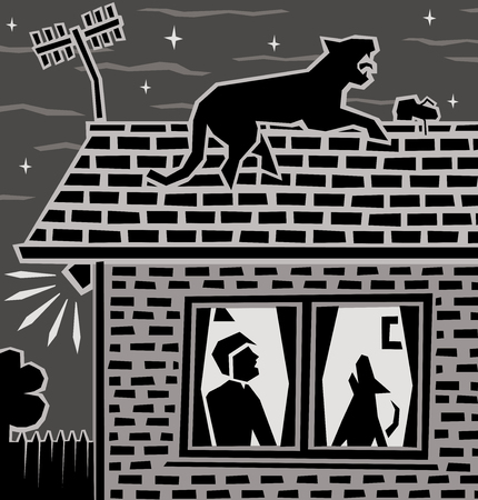 Editable vector illustration of a leopard on a house roof at night  Stock Illustratie