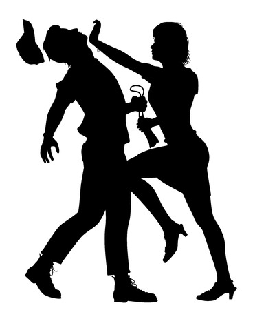 Editable vector silhouette of a woman defending herself from a man trying to snatch her bag Vector Illustration