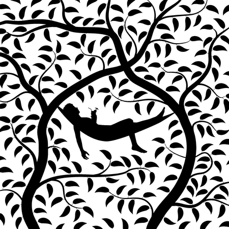 Editable vector silhouette of a man relaxing in a hammock between two trees with man, hammock and two trees as separate objects