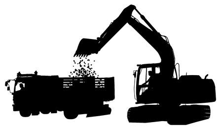 Silueta vectorial editable de una excavadora cargando tierra en un camión