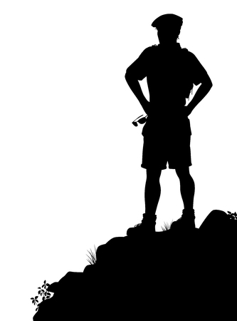 Editable vector silhouette of a male hiker standing at a viewpoint  Illusztráció