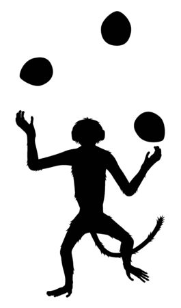 Editable vector silhouette of a dancing monkey juggling three coconuts 向量圖像