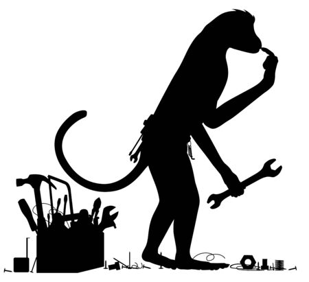Editable vector silhouette of a confused monkey with tools Stock Illustratie