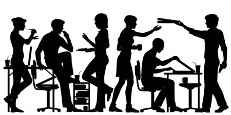 Editable vector silhouette of office workers enjoying pizza for lunch with all figures as separate objects Illustration