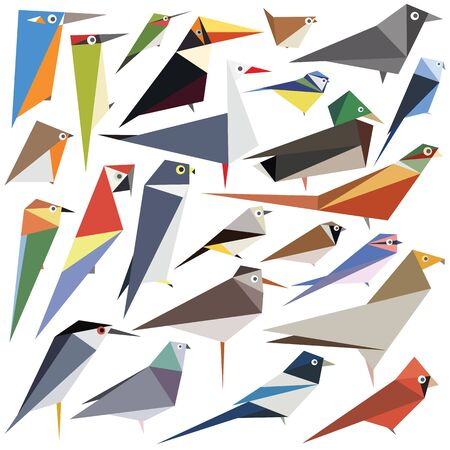 Collection of editable vector bird designs made from simple shapes