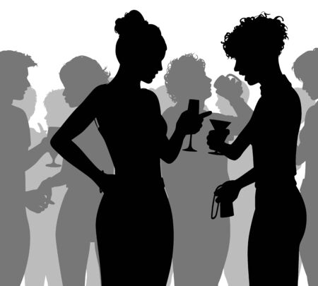 Editable vector silhouette of people enjoying themselves at a crowded party with all figures as separate objects