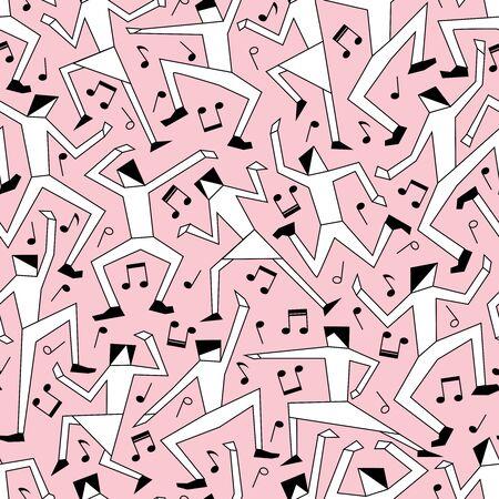 Editable vector seamless tile of men and women dancing at a disco