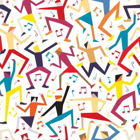 Editable vector seamless tile of colorful men and women dancing at a disco
