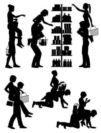 Set of editable vector silhouettes of men carrying their female partner whilst shopping as a cliche of the male attitude of shopping with women being a chore