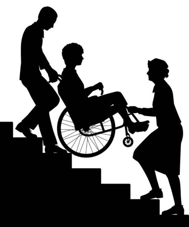 Editable vector silhouette of two people transporting a patient upstairs in a wheelchair with all figures as separate objects