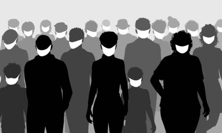 Editable vector silhouettes of a group of people all wearing facemasks Stock Illustratie