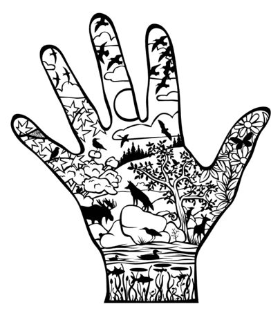 Editable vector illustration of the natural world within a hand outline