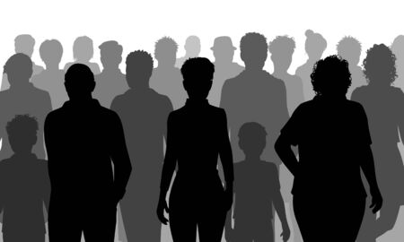 Editable vector silhouettes of a mixed group of people walking along a street