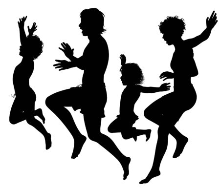 Editable vector silhouettes of a family jumping into water 向量圖像