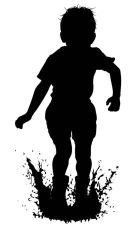 Editable vector silhouette of a young boy jumping in a puddle with boy and water as separate objects