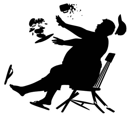 Editable vector silhouette of a wooden chair collapsing as a large man sits on it to eat a burger  Stock Illustratie