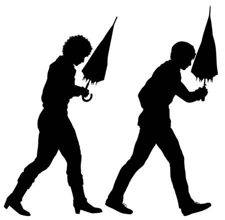 Editable vector silhouettes of two pessimistic people walking with umbrellas ready to open  Stock Illustratie