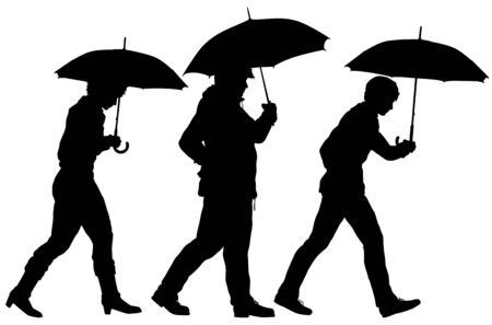 Editable vector silhouette of three people walking with umbrellas with umbrellas as separate objects