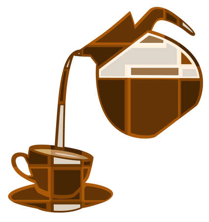 Editable vector mosaic illustration of coffee pouring into a cup