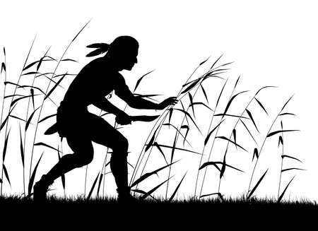 Vector silhouette of a native man creeping through reeds with knife Stock Illustratie