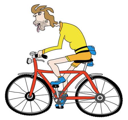 Editable vector cartoon illustration of a man riding a bicycle