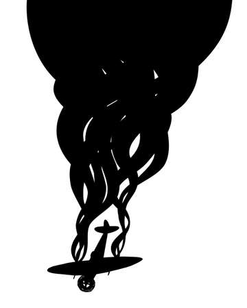 Vector silhouette of a war fighter plane plummeting with smoking engines