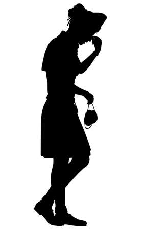 Vector silhouette of a female nurse tired from work  イラスト・ベクター素材