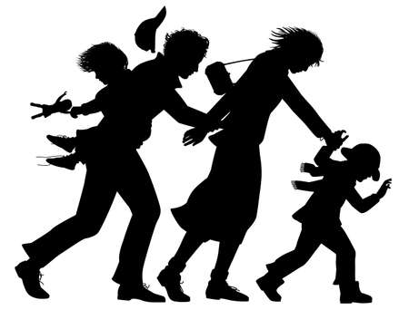 Editable vector silhouette of a family struggling against a strong wind with all figures as separate objects Stock Illustratie