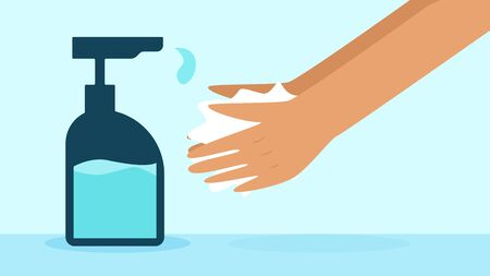 Hand Washing with Hand Sanitizer Flat Vector Illustration  イラスト・ベクター素材