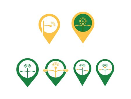 Creative Location Pin Icon, Logo Set with Street Lamp Post, Street Light and Antenna Vector Template EPS 10