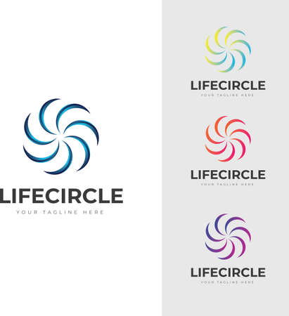 Circular spiral Abstract Logo modern shape colorful meaningful life community sign