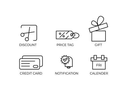 Black Friday Icon Set Vector Template of Discount, price tag, gift, credit card, notification and calender with line stylizing Vettoriali