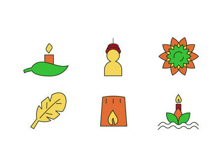 Loi krathong Festival Icon Set of Candle on leaf, traditional wearing, flower, leaf, leaf boat on water with candle