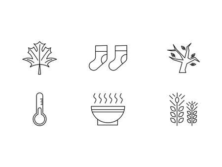 Autumn Icon set of Leaf, Socks, Trees, Low Temperatures, Hot soup and Weat