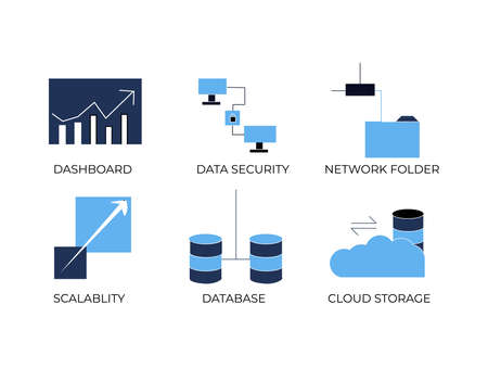 Big Data Icon set of Analytic, Data Security, Network Folder, Scalability, Database and Cloud Storage
