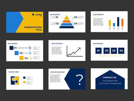 Company Presentation and Pitch Deck. Investment presentation with Info graphics and icons