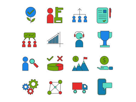 Business and Corporate Grooming Icon Set Vector Templates indicating idea, investment, recruitment, support, achievement, advertizing and others. Colorful Line Style Icon Package