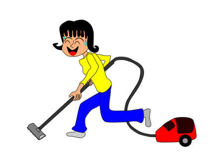 perspiration: Women who are using a vacuum cleaner