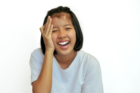 The Asian girls have fun Stock Photo