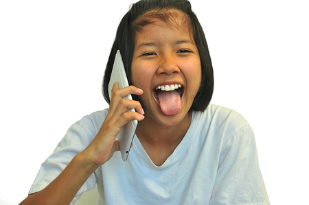 Young girl talking phone