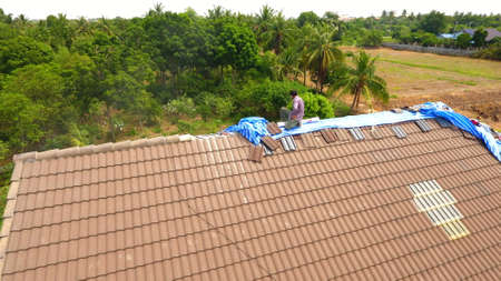 Repairing roofs view high.