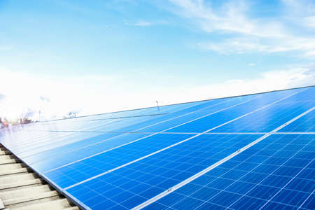 Photovoltaic which installed on the roof of the building, sustainable power, environment, green energy concept.
