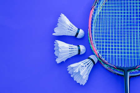 Isolated badminton racket and badminton shuttlecocks, concept for badminton sport lovers around the world. Stock Photo