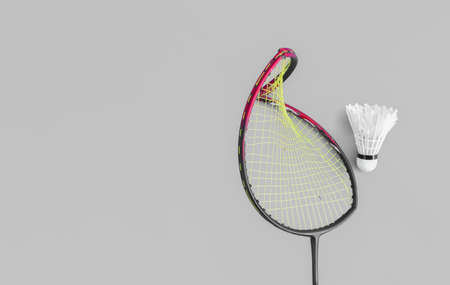 Badminton rackets which has frame broken, concept for badminton sport lovers and care. Stock Photo