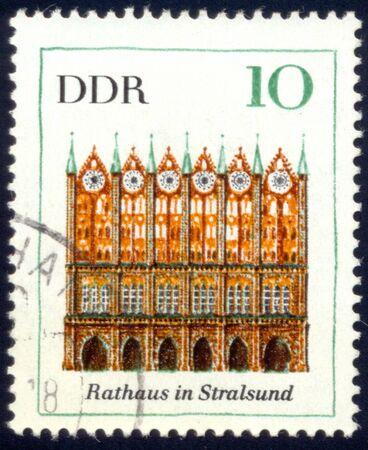 ddr: DDR  Stralsund Hall about 1983  stamp